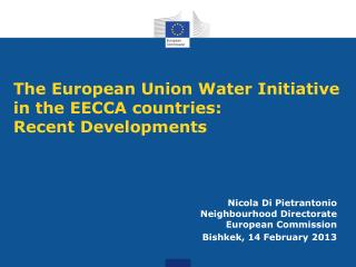 The European Union Water Initiative in the EECCA countries:  Recent Developments