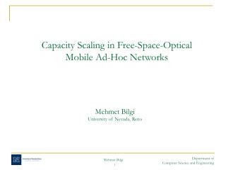 Capacity Scaling in Free-Space-Optical  Mobile Ad-Hoc Networks
