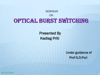 SEMINAR  ON Optical Burst Switching