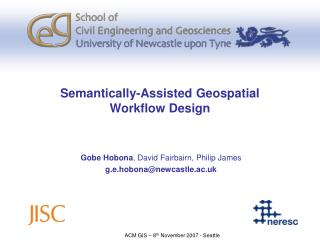 Semantically-Assisted Geospatial  Workflow Design