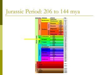 Jurassic Period: 206 to 144 mya