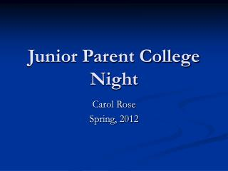 Junior Parent College Night
