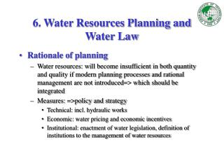 6. Water Resources Planning and Water Law