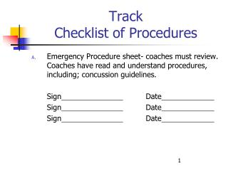 Track Checklist of Procedures