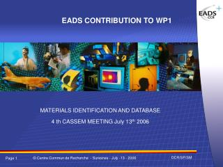 EADS CONTRIBUTION TO WP1