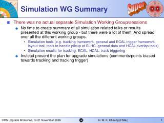 Simulation WG Summary