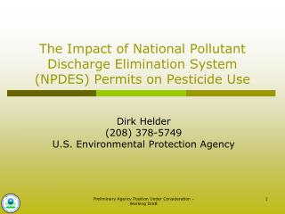 The Impact of National Pollutant Discharge Elimination System (NPDES) Permits on Pesticide Use