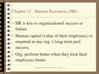 Chapter 12 - Human Resources (HR)