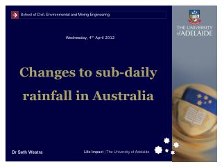 Changes to sub-daily rainfall in Australia