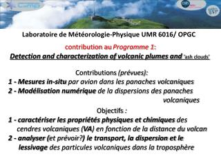 contribution au  Programme 1 : Detection and characterization of  volcanic plumes and 'ash clouds'