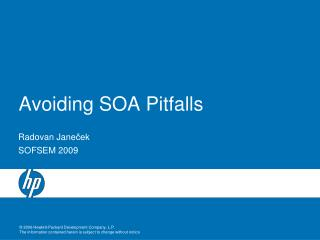 Avoiding SOA Pitfalls