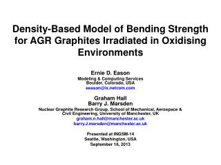 Density-Based Model of Bending Strength for AGR Graphites Irradiated in Oxidising Environments