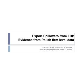 Export Spillovers  from FDI : Evidence from Polish firm-level data