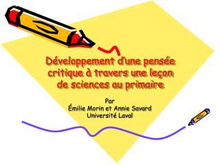 D veloppement d une pens e critique   travers une le on  de sciences au primaire