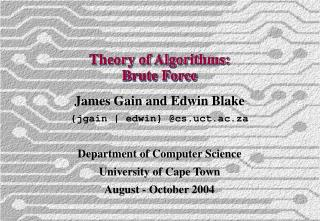 Theory of Algorithms: Brute Force