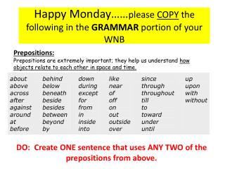 Happy Monday…… please  COPY  the following in the  GRAMMAR  portion of your WNB