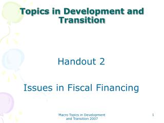 Topics in Development and Transition