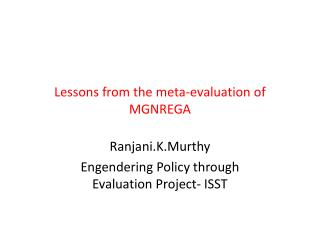 Lessons from the meta-evaluation of MGNREGA