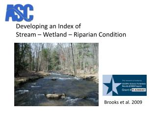 Developing an Index of  Stream – Wetland – Riparian Condition