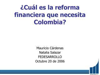 �Cu�l es la reforma financiera que necesita Colombia?
