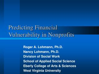 Predicting Financial Vulnerability in Nonprofits