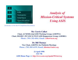 Analysis of  Mission-Critical Systems  Using ASIS