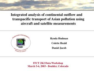 ITCT 2K2 Data Workshop March 5-6, 2003 - Boulder, Colorado