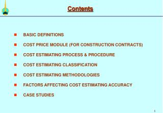 BASIC DEFINITIONS COST PRICE MODULE (FOR CONSTRUCTION CONTRACTS)