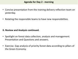Agenda for Day  2 - morning