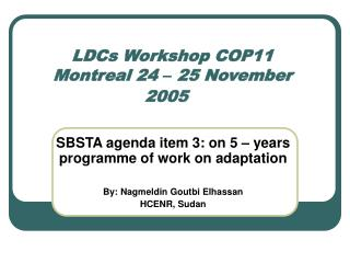 LDCs Workshop COP11 Montreal 24  �  25 November 2005
