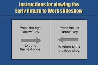 Instructions for viewing the  Early Return to Work slideshow