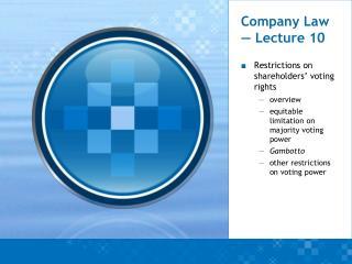 Company Law — Lecture 10
