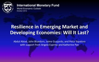 International Monetary Fund World Economic Outlook October 2012