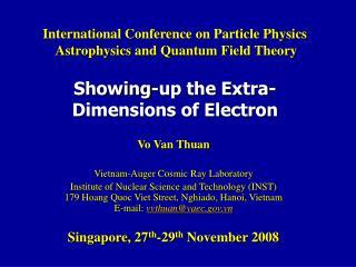 Vo Van Thuan Vietnam-Auger Cosmic Ray Laboratory