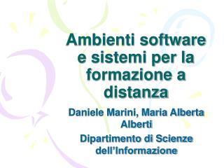Ambienti software e sistemi per la formazione a distanza