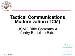 Tactical Communications Modernization (TCM) USMC Rifle Company &  Infantry Battalion Extract