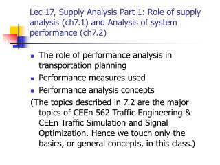 The role of performance analysis in transportation planning Performance measures used