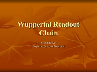Wuppertal Readout Chain