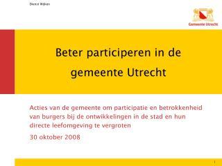 Beter participeren in de gemeente Utrecht