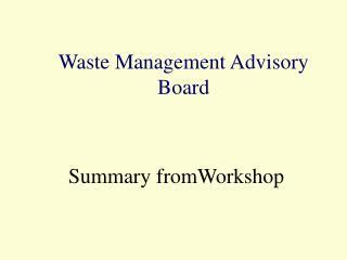 Waste Management Advisory Board