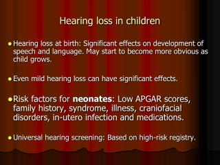 Hearing loss in children