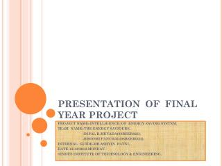 PRESENTATION  OF  FINAL YEAR PROJECT