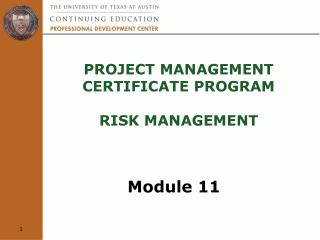 Project Management  Certificate Program  Risk Management