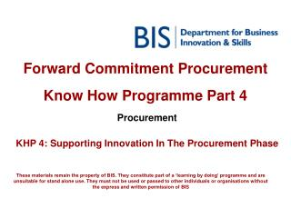Forward Commitment Procurement  Know How Programme Part 4