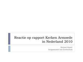 Reactie op rapport Kerken Armoede in Nederland 2010