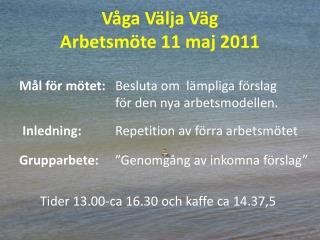 Våga Välja Väg Arbetsmöte 11 maj 2011