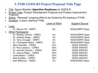1. FY08 GOES-R3 Project Proposal Title Page