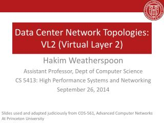 Data Center Network Topologies:  VL2 (Virtual Layer 2)