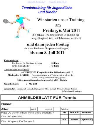 tc-dietach.at tc-dietach.at Tennistraining für Jugendliche  und Kinder