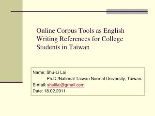 Online Corpus Tools as English Writing References for College Students in Taiwan